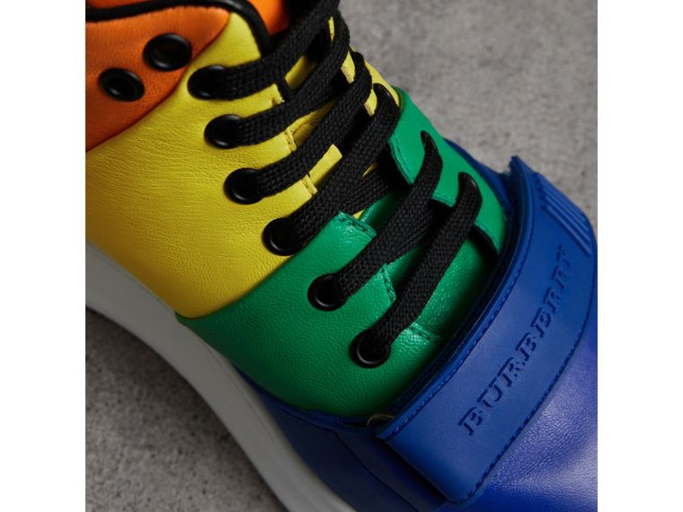 Rainbow Leather High-top Sneakers | Burberry - cell image 1