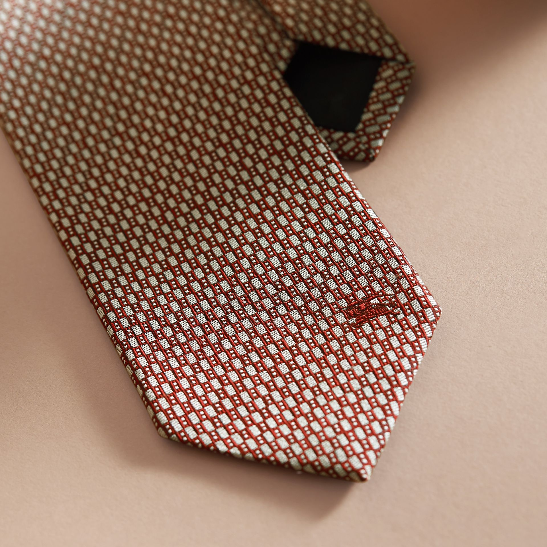 Modern Cut Silk Jacquard Tie in Parade Red - gallery image 2