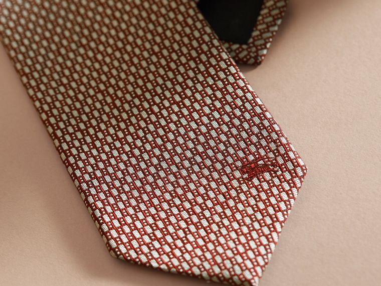 Modern Cut Silk Jacquard Tie in Parade Red - cell image 1