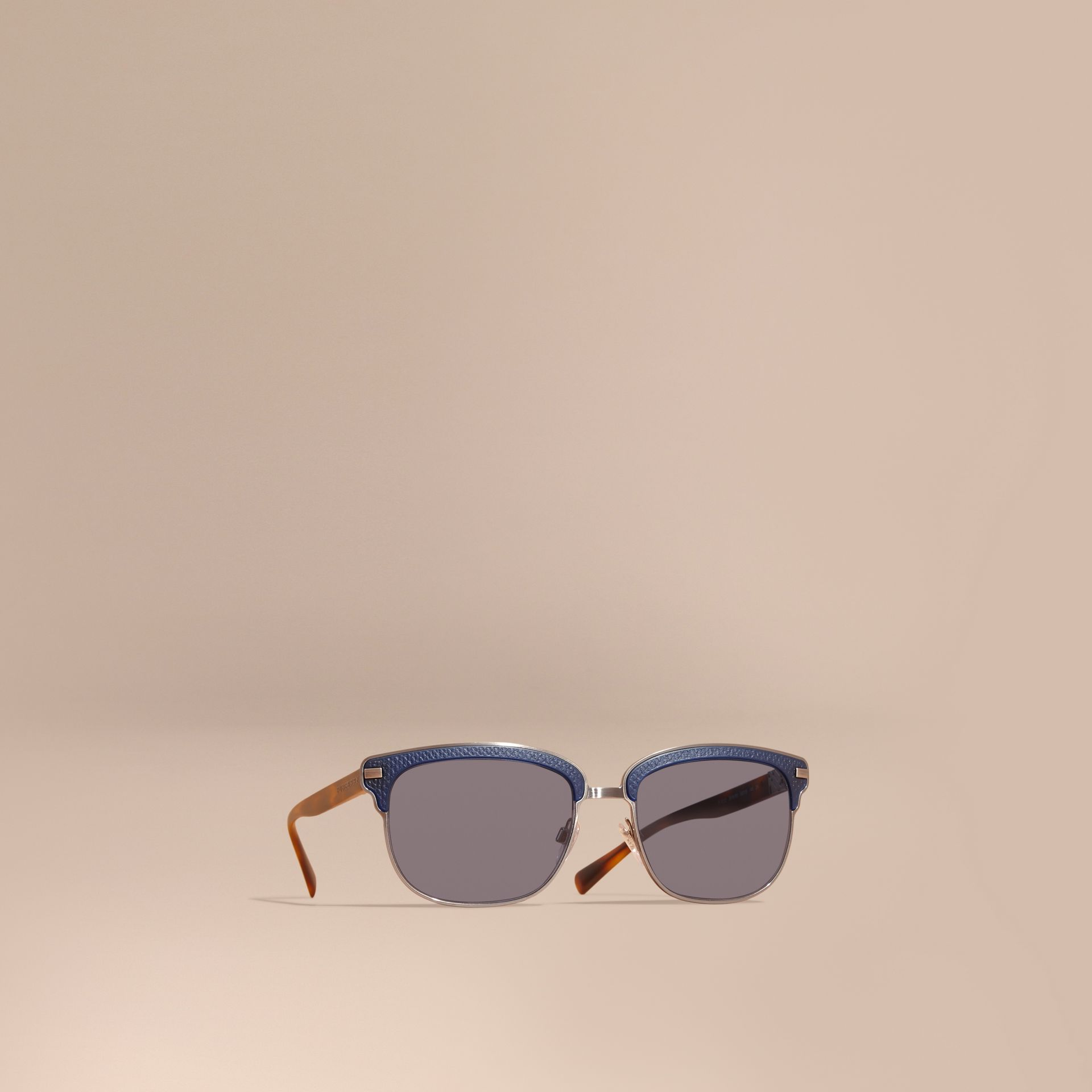 Textured Front Square Frame Sunglasses in Dark Navy - Men | Burberry - gallery image 0