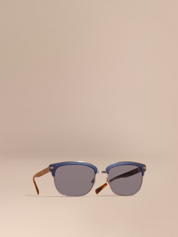Textured Front Square Frame Sunglasses Dark Navy