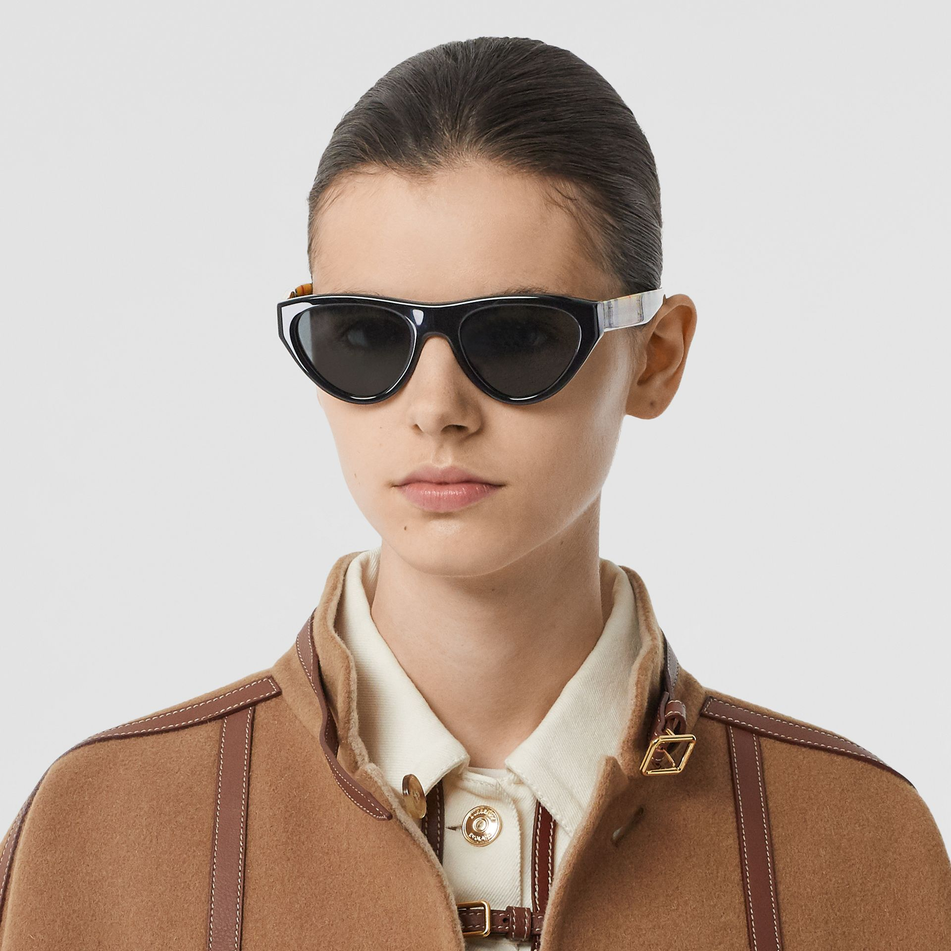 Vintage Check Detail Triangular Frame Sunglasses in Antique Yellow - Women | Burberry - gallery image 2