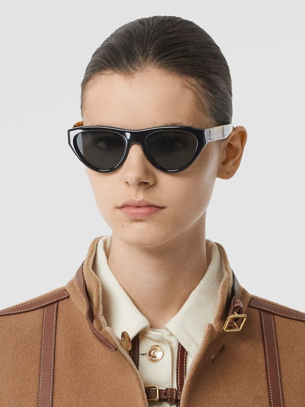 Vintage Check Detail Triangular Frame Sunglasses in Antique Yellow - Women | Burberry Canada - cell image 2