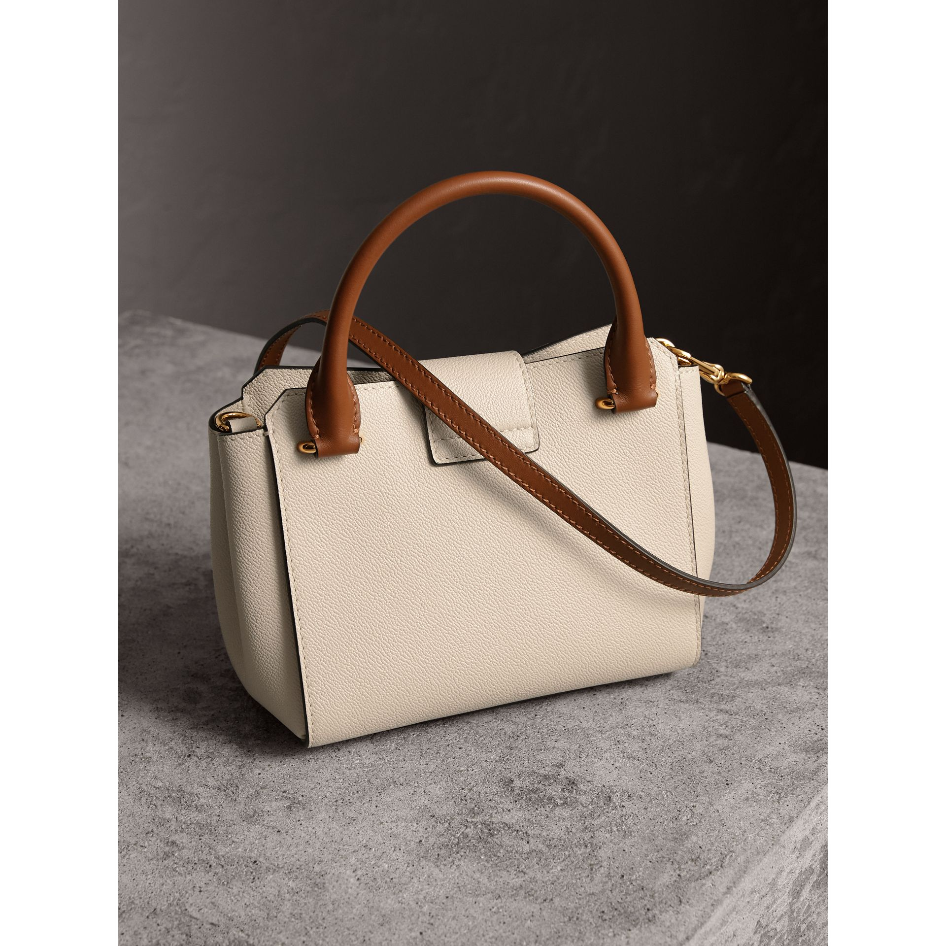 The Small Buckle Tote in Two-tone Leather in Limestone - Women | Burberry United Kingdom - gallery image 5