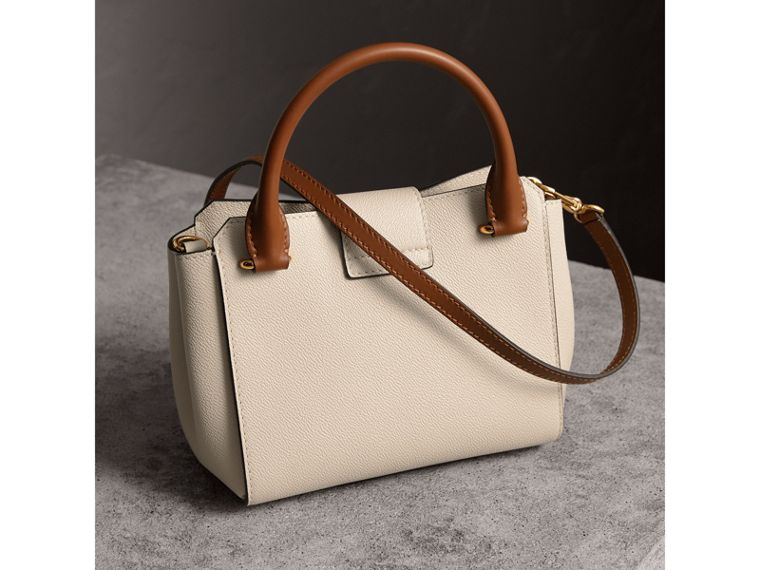 The Small Buckle Tote in Two-tone Leather in Limestone - Women | Burberry Hong Kong - cell image 4