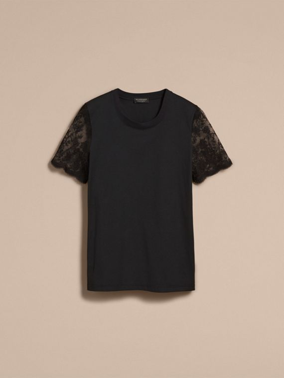 Cotton T-Shirt with Embroidered Tulle Sleeves - cell image 3