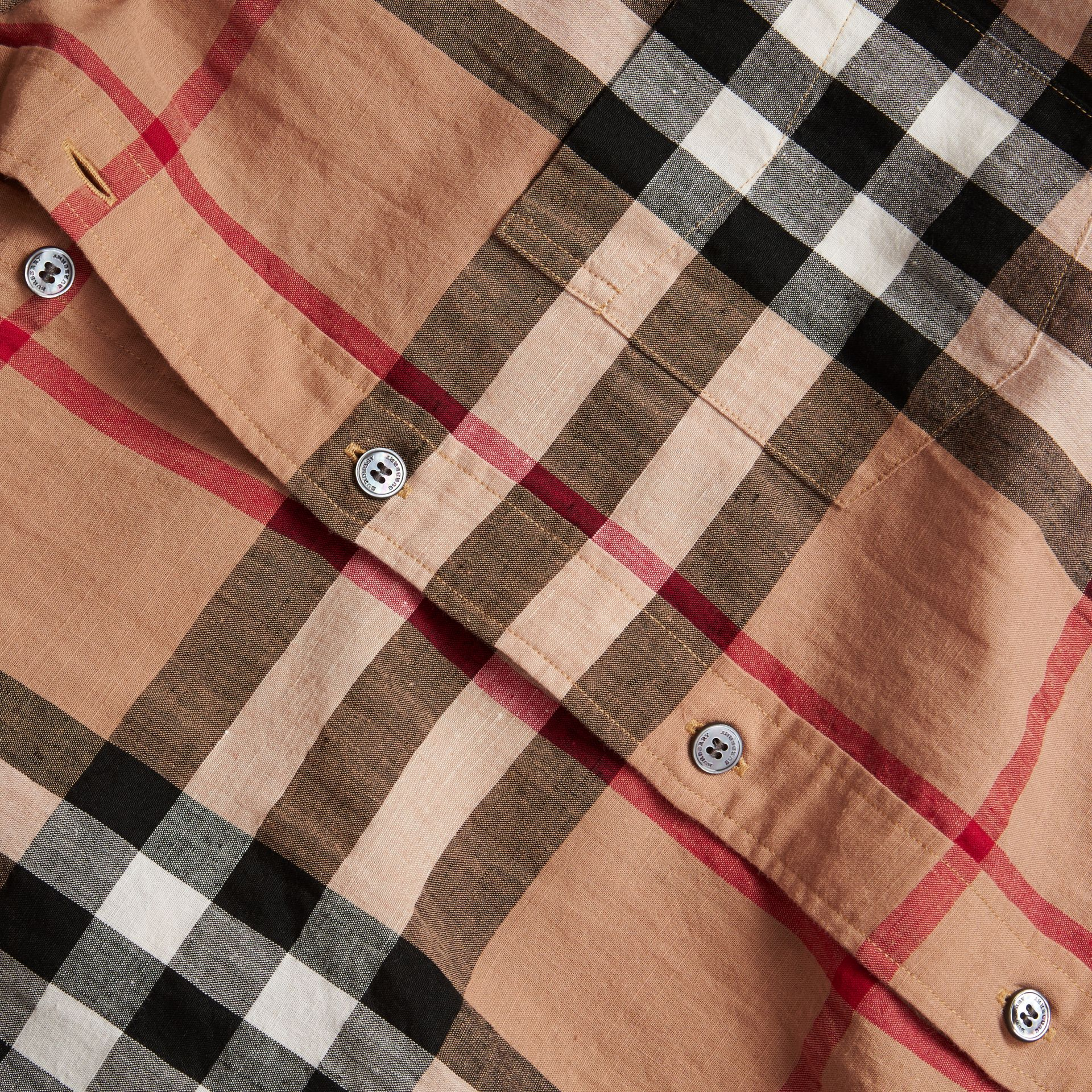 Button-down Collar Check Linen Cotton Shirt Camel - gallery image 2