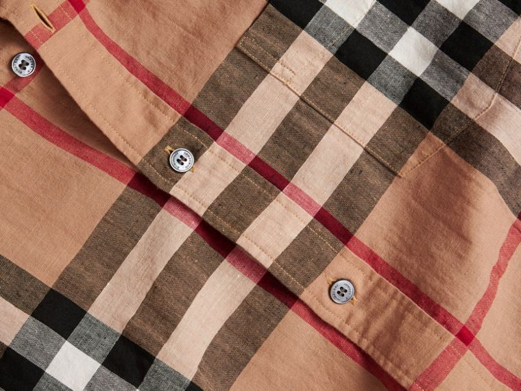 Button-down Collar Check Linen Cotton Shirt Camel - cell image 1