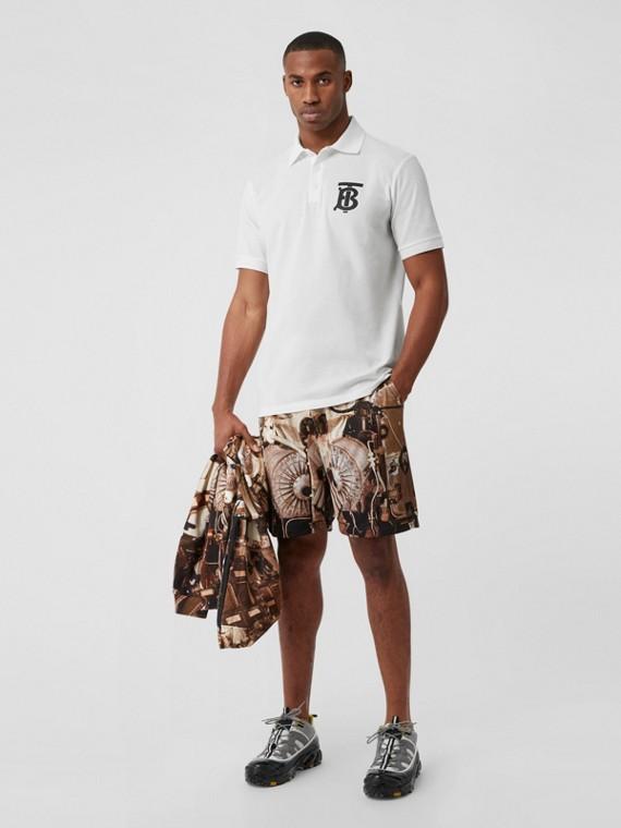 モノグラムモチーフ コットンピケ オーバーサイズ ポロシャツ (ホワイト)