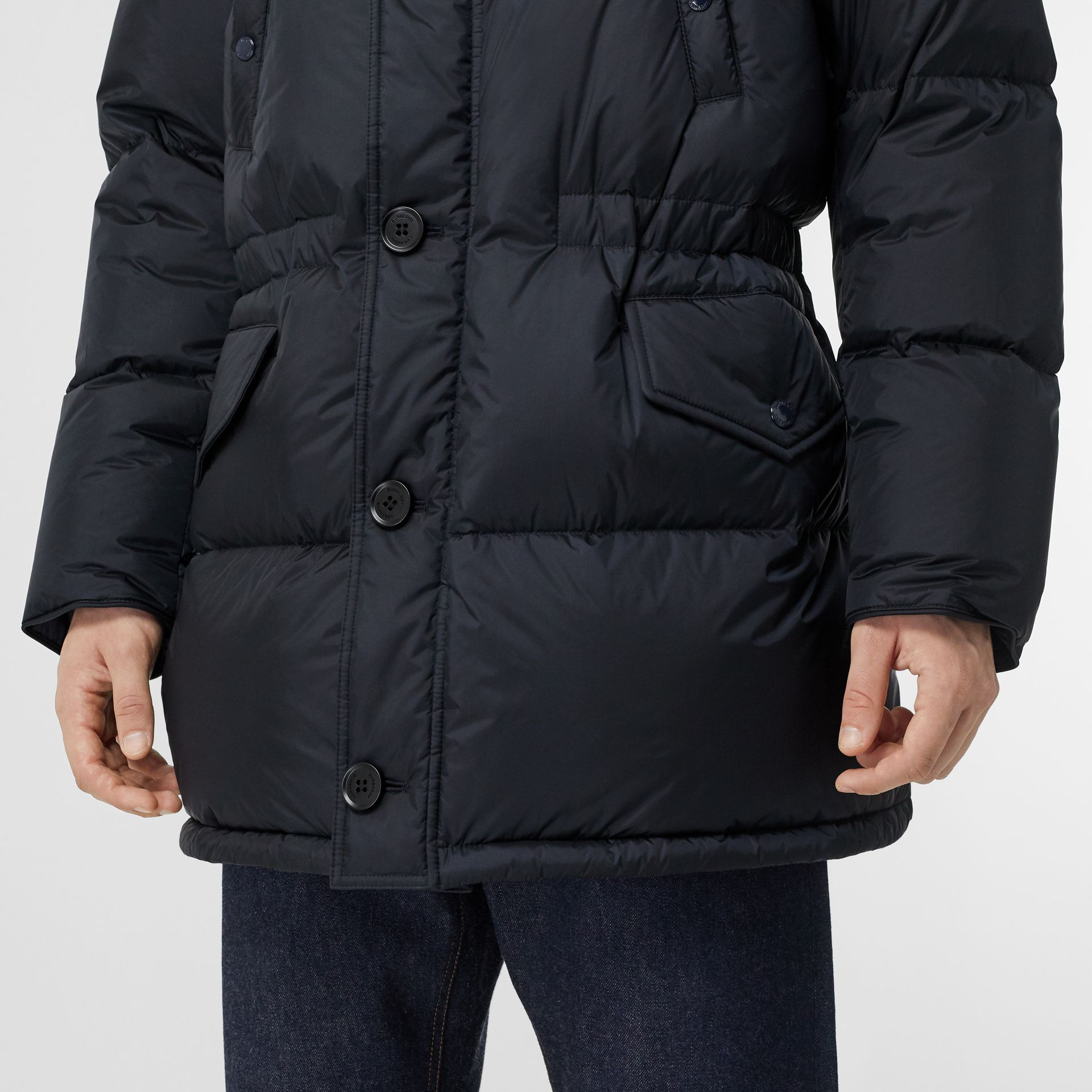Logo Detail Hooded Puffer Coat in Navy - Men | Burberry Singapore - gallery image 1