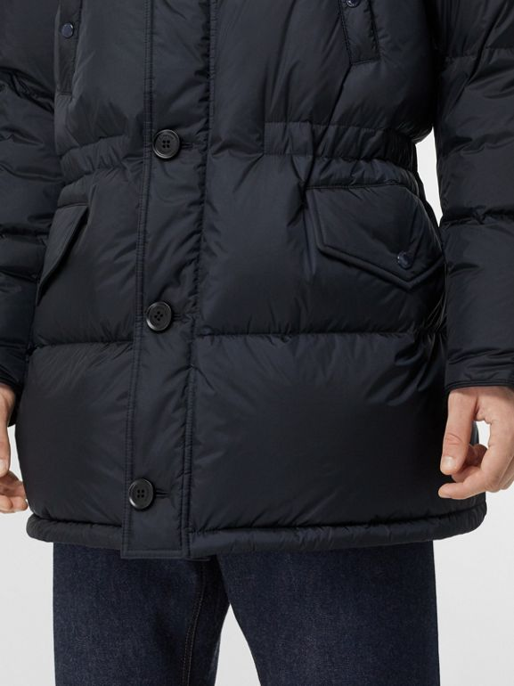 Logo Detail Hooded Puffer Coat in Navy - Men | Burberry Singapore - cell image 1