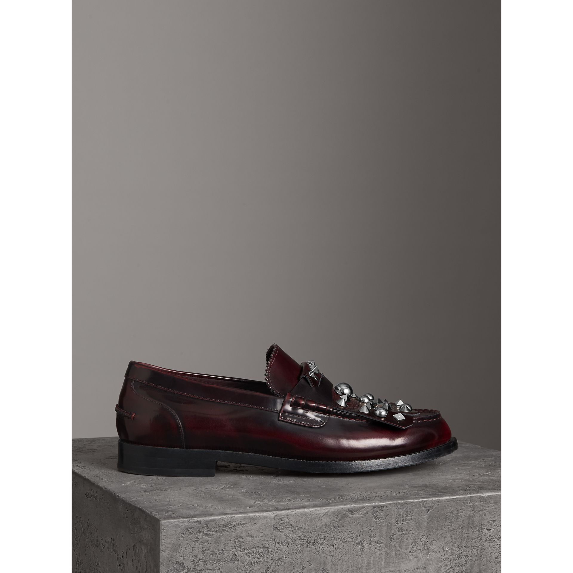 Stud Detail Kiltie Fringe Leather Loafers in Bordeaux - Men | Burberry - gallery image 4