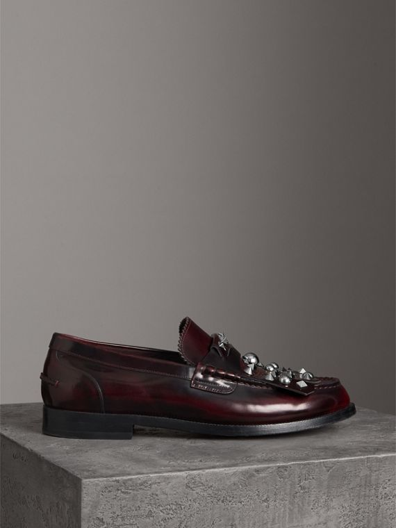 Stud Detail Kiltie Fringe Leather Loafers in Bordeaux