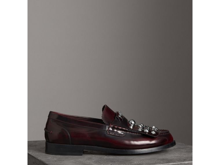 Stud Detail Kiltie Fringe Leather Loafers in Bordeaux - Men | Burberry - cell image 4