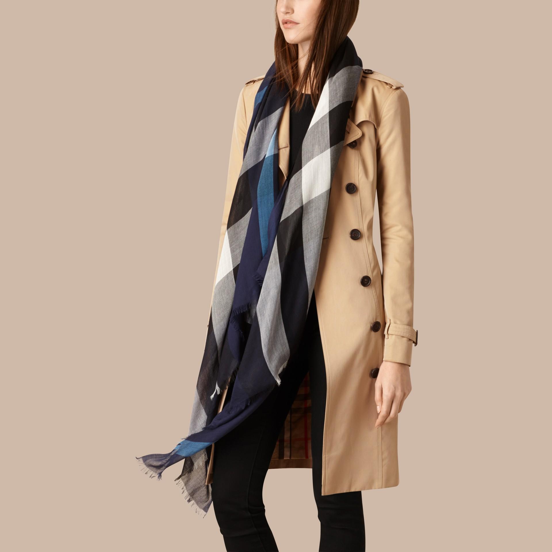 Indigo blue Check Modal Cashmere and Silk Scarf Indigo Blue - gallery image 3