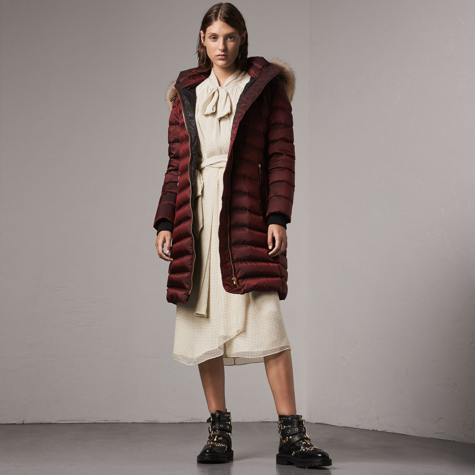 Detachable Fur Trim Down-filled Puffer Coat with Hood in Burgundy - Women | Burberry Australia - gallery image 0