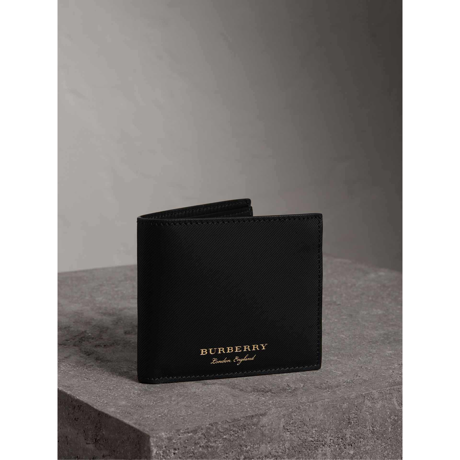 Trench Leather International Bifold Wallet in Black - Men | Burberry - gallery image 0