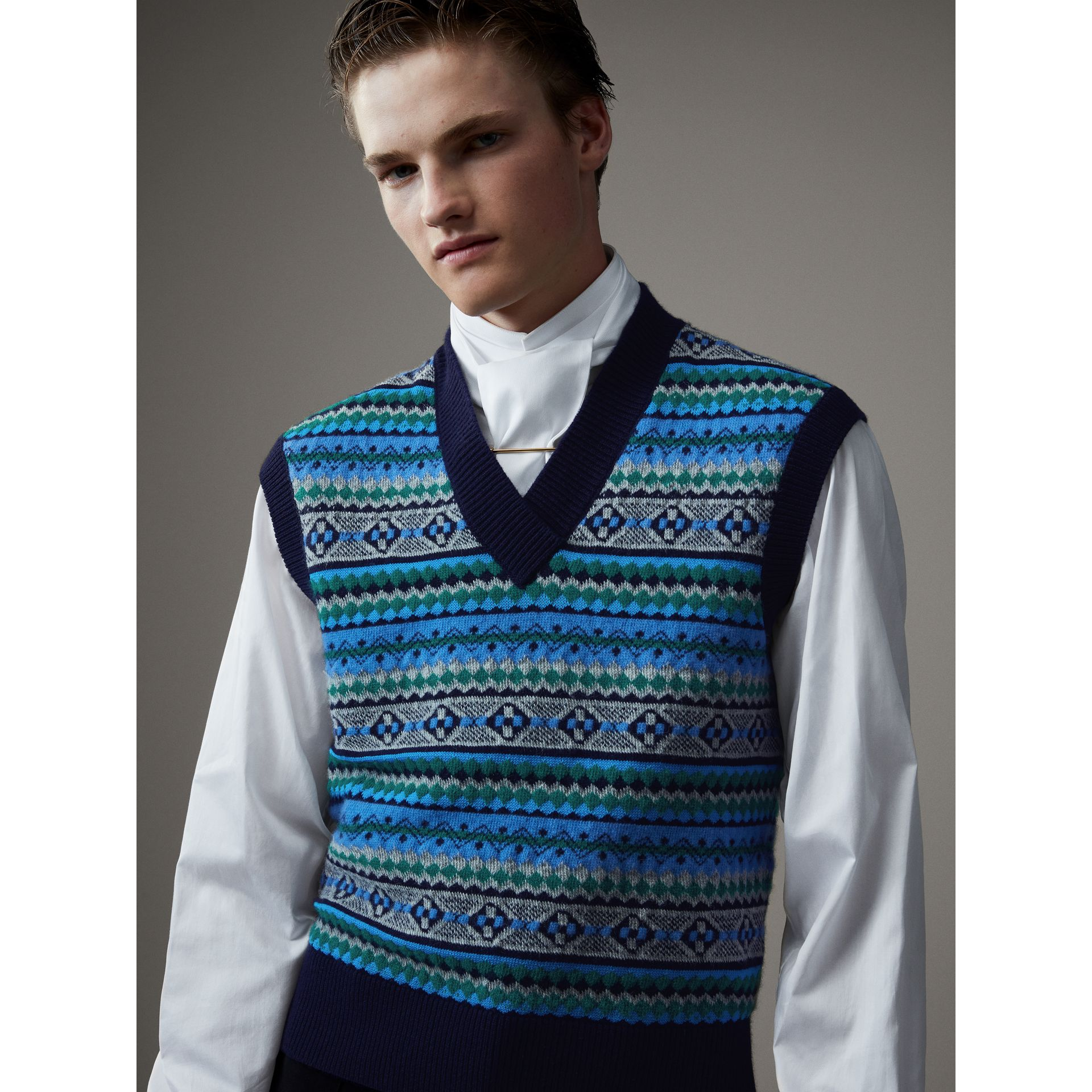 Fair Isle Wool Cropped Tank Top in Navy - Men | Burberry - gallery image 5