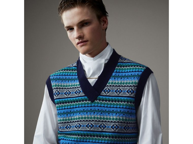Fair Isle Wool Cropped Tank Top in Navy - Men | Burberry United States - cell image 4