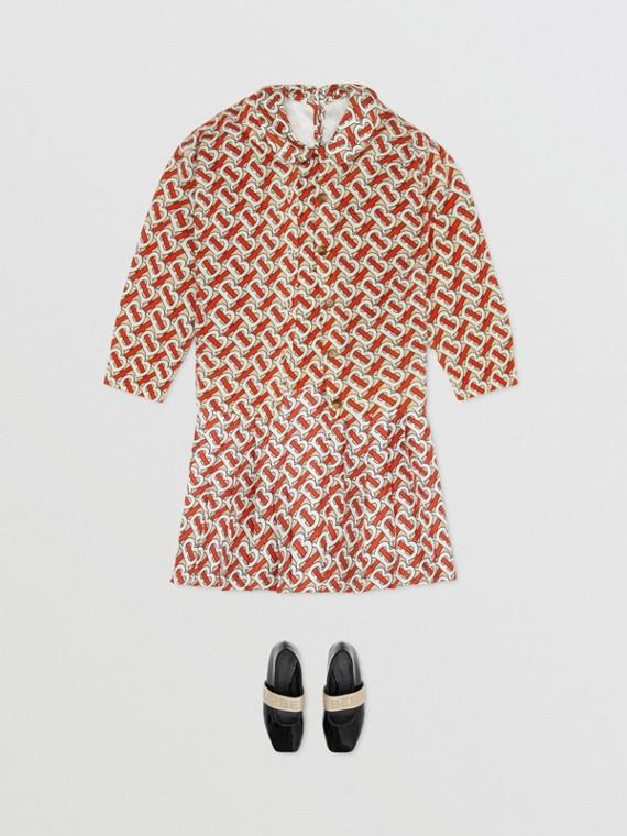 Monogram Print Merino Wool Two-piece Set in Vermilion Red