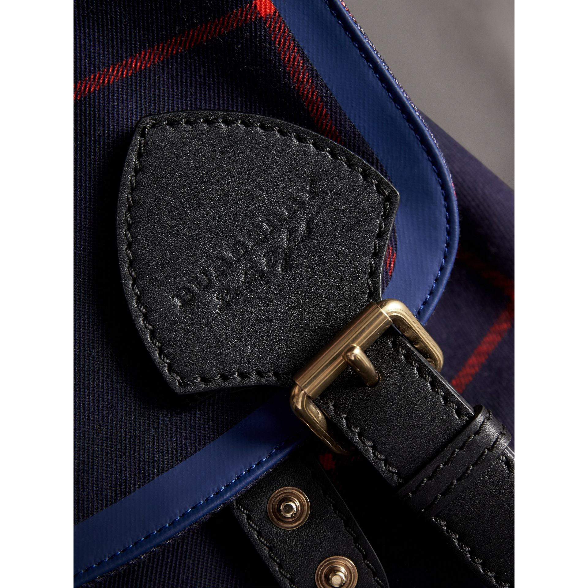 The Large Rucksack in Tartan Cotton in Deep Navy - Men | Burberry Australia - gallery image 1