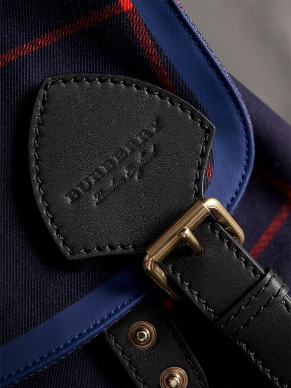 The Large Rucksack in Tartan Cotton in Deep Navy - Men | Burberry - cell image 1