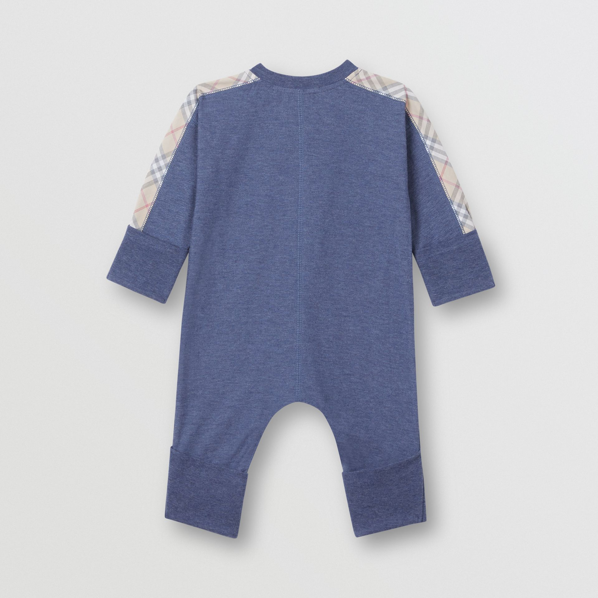 Check Cotton Three-piece Baby Gift Set in Slate Blue Melange - Children | Burberry United Kingdom - gallery image 3