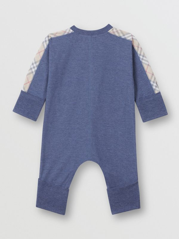 Check Cotton Three-piece Baby Gift Set in Slate Blue Melange - Children | Burberry United Kingdom - cell image 3