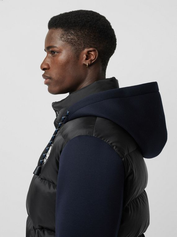 Neoprene Down-filled Hooded Jacket in Black