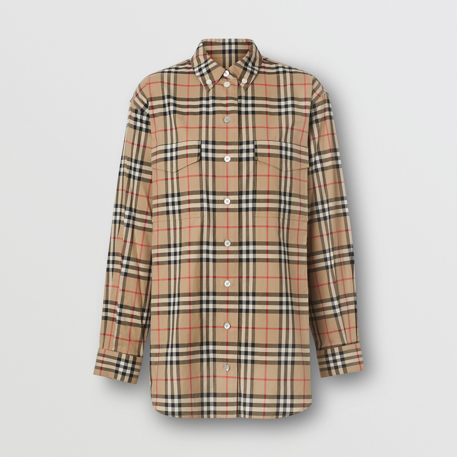 Button-down Collar Vintage Check Oversized Shirt in Archive Beige - Women | Burberry United Kingdom - gallery image 3