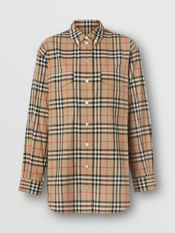 Button-down Collar Vintage Check Oversized Shirt in Archive Beige - Women | Burberry United Kingdom - cell image 3