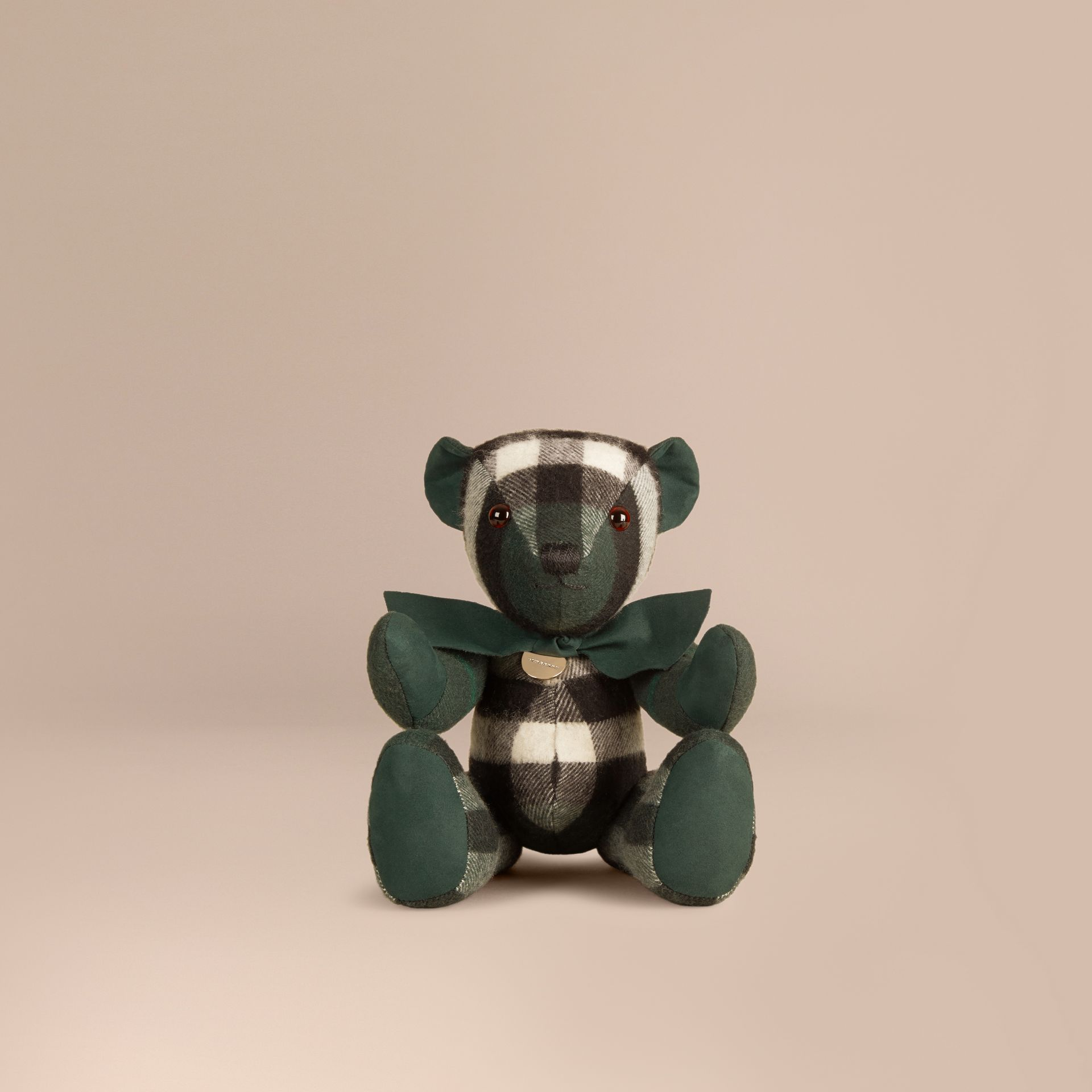 Thomas Bear in Check Cashmere in Dark Forest Green | Burberry - gallery image 0