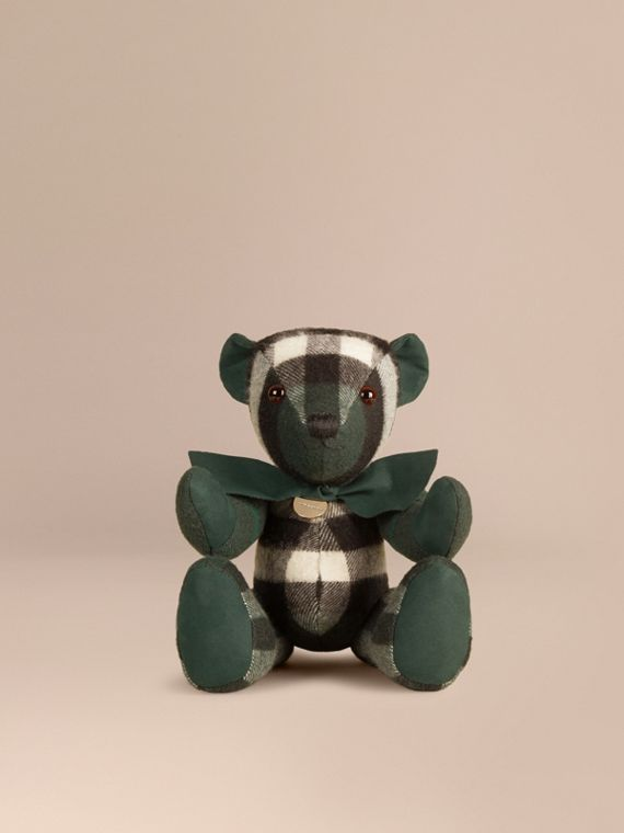 Thomas Bear in Check Cashmere in Dark Forest Green