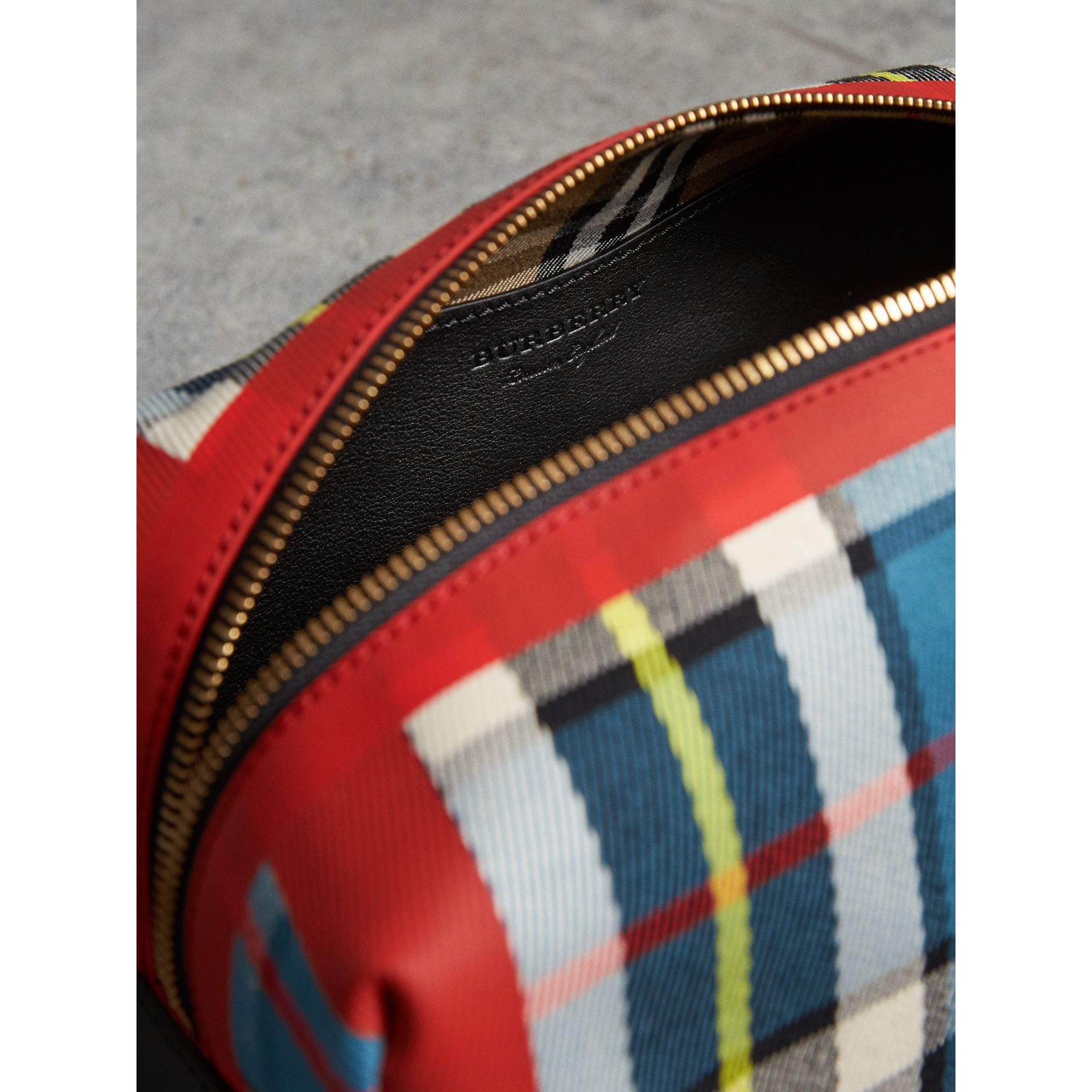 Tartan Cotton Pouch in Blue | Burberry - gallery image 5