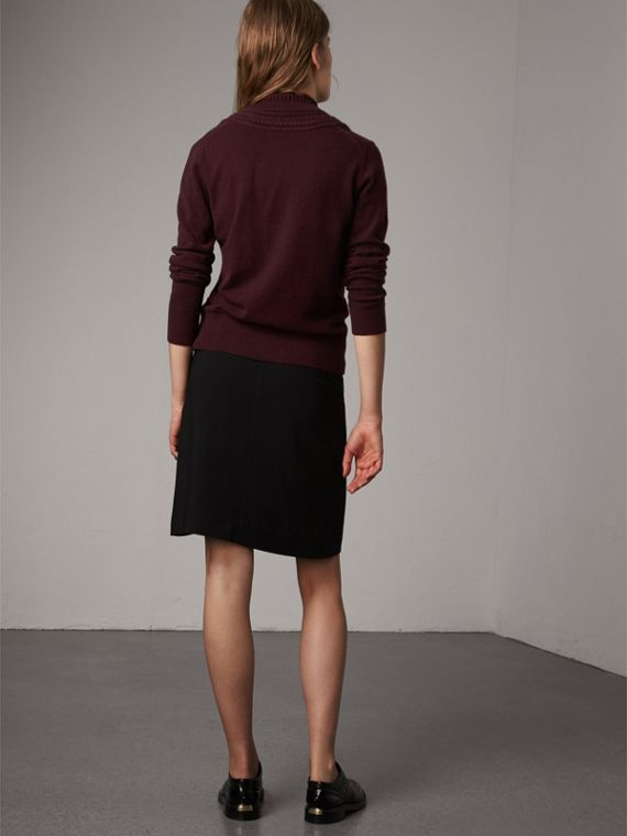 Cable Knit Detail Cashmere Cardigan in Deep Claret - Women | Burberry - cell image 2