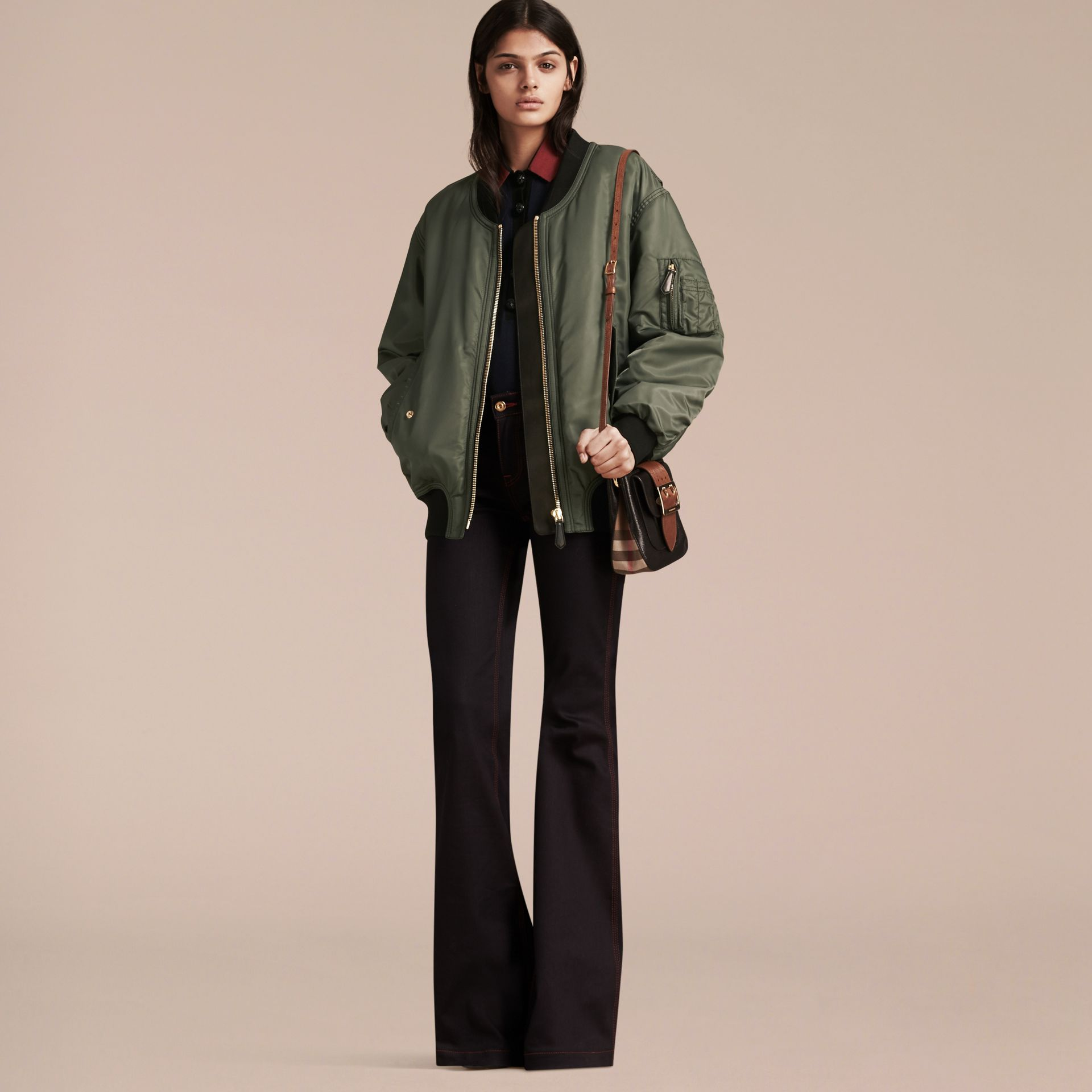 Khaki green Oversize Water-repellent Bomber Jacket - gallery image 7