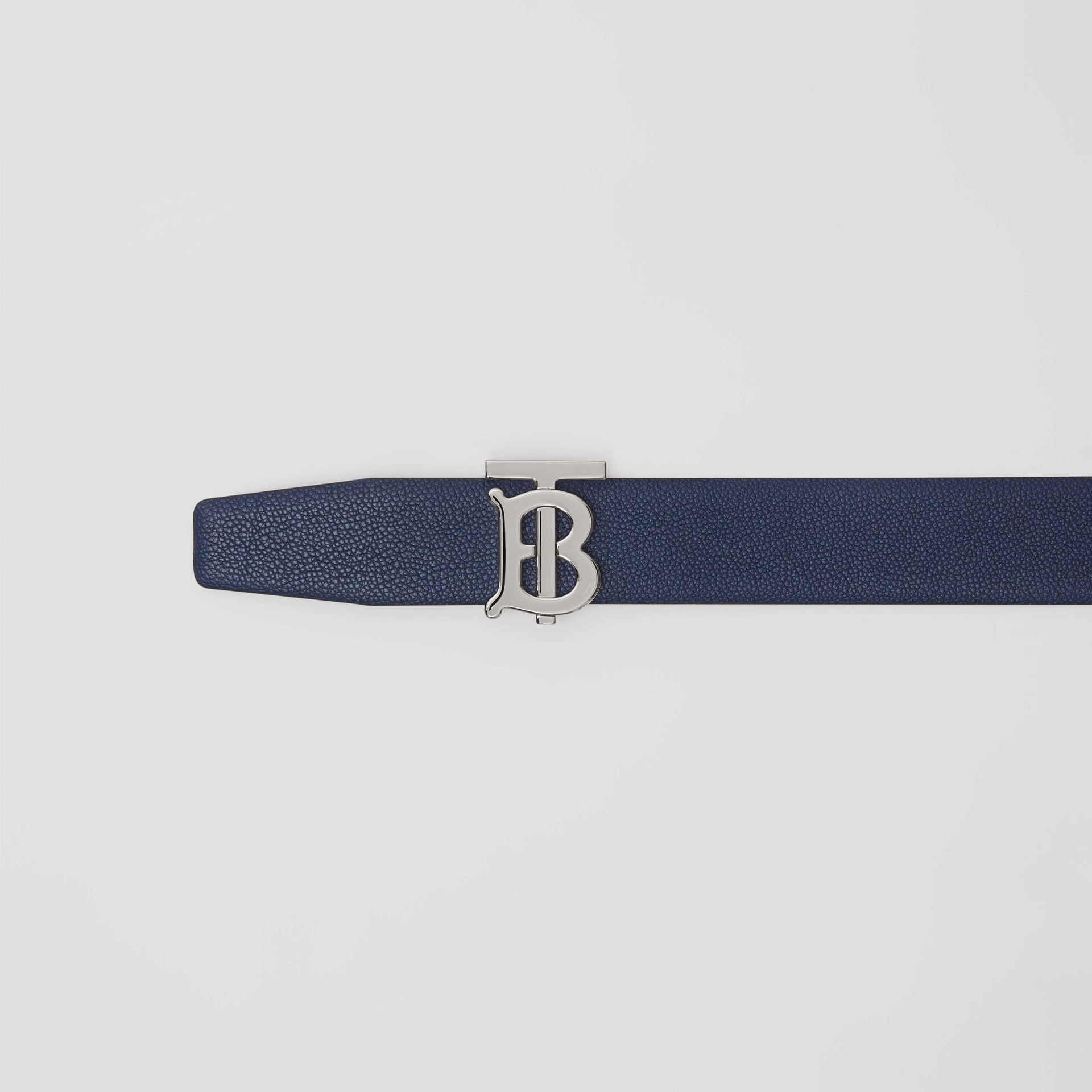 Reversible Monogram Motif Leather Belt in Navy/black - Men | Burberry United Kingdom - gallery image 1