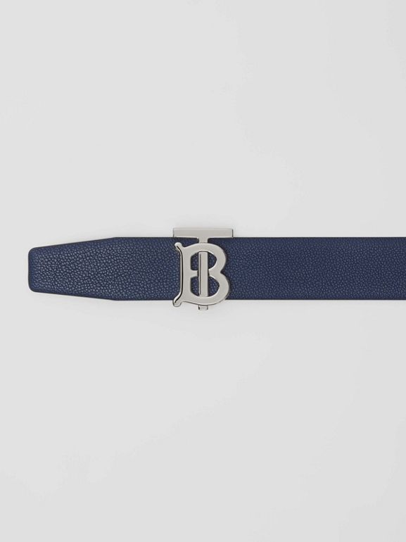 Reversible Monogram Motif Leather Belt in Navy/black - Men | Burberry - cell image 1