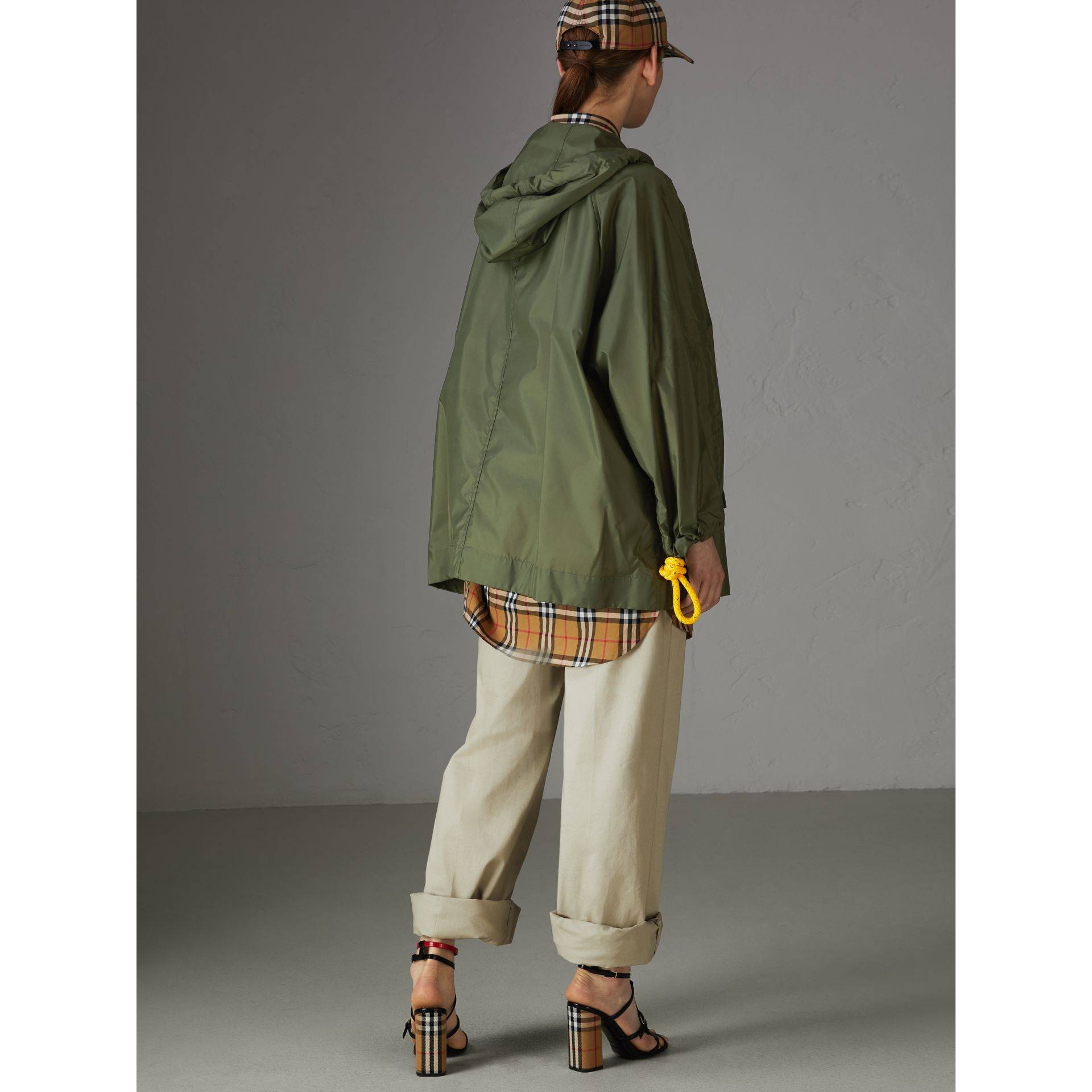 Oversized Nylon Cagoule in Light Olive - Women | Burberry - gallery image 2