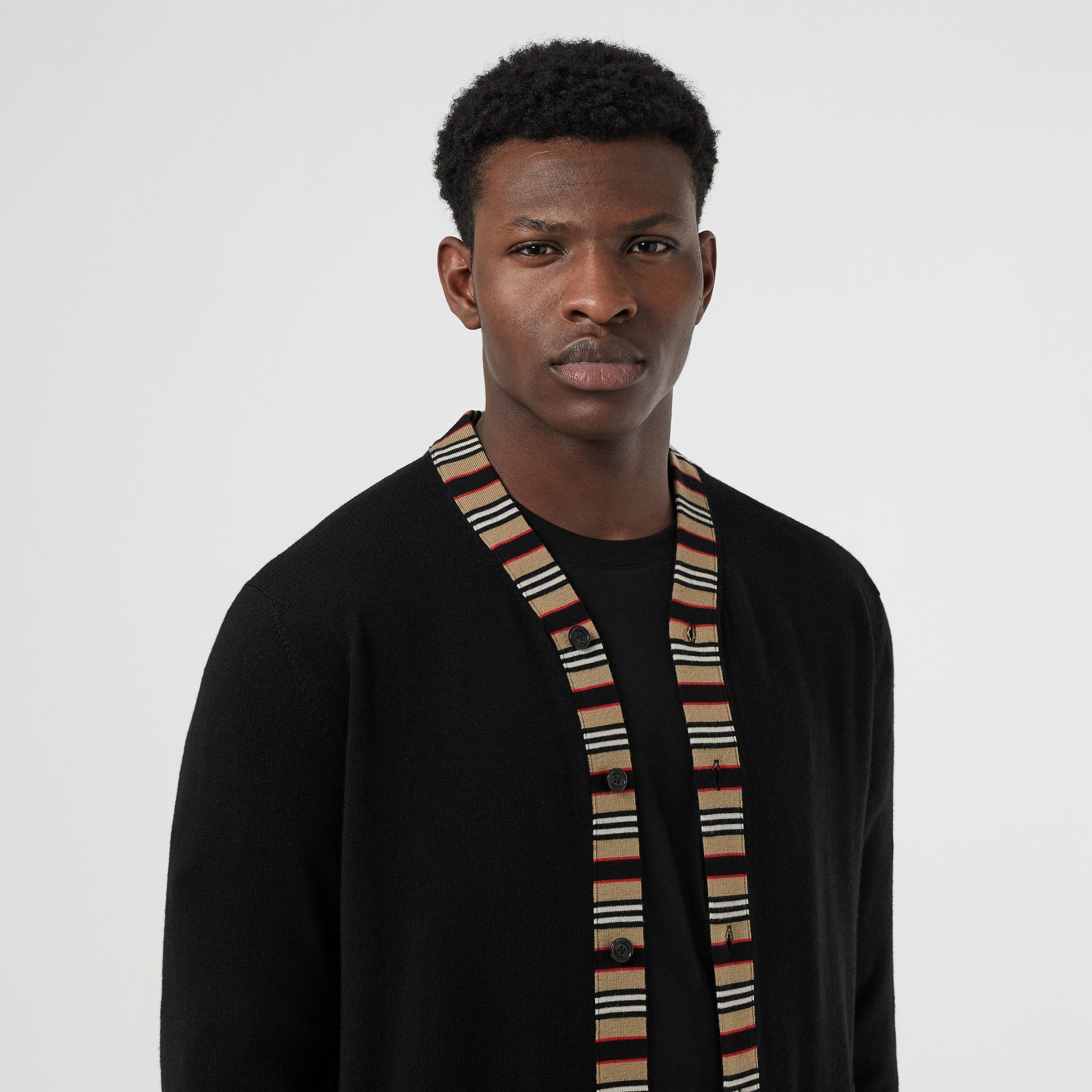 Icon Stripe Detail Merino Wool Cardigan in Black - Men | Burberry United Kingdom - gallery image 1
