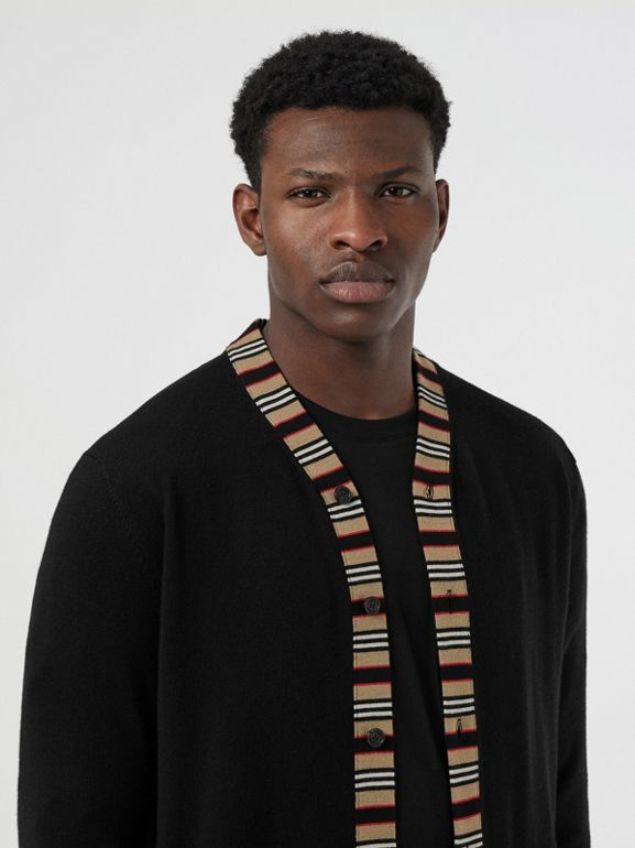 Icon Stripe Detail Merino Wool Cardigan in Black - Men | Burberry Hong Kong - cell image 1