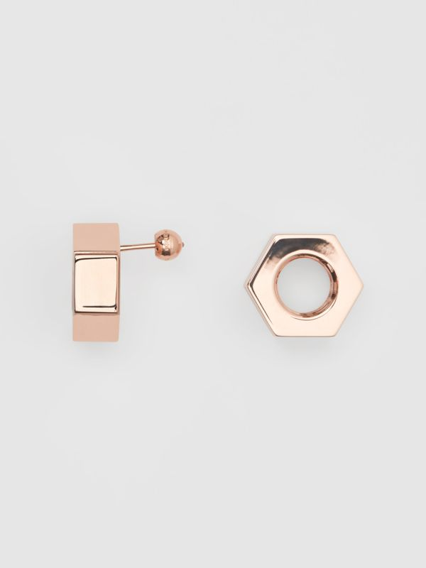 Rose Gold-plated Nut Earrings - Women | Burberry - cell image 3
