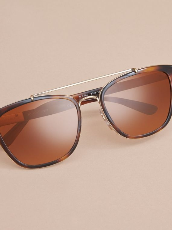 Top Bar Square Frame Sunglasses in Tortoiseshell - cell image 2