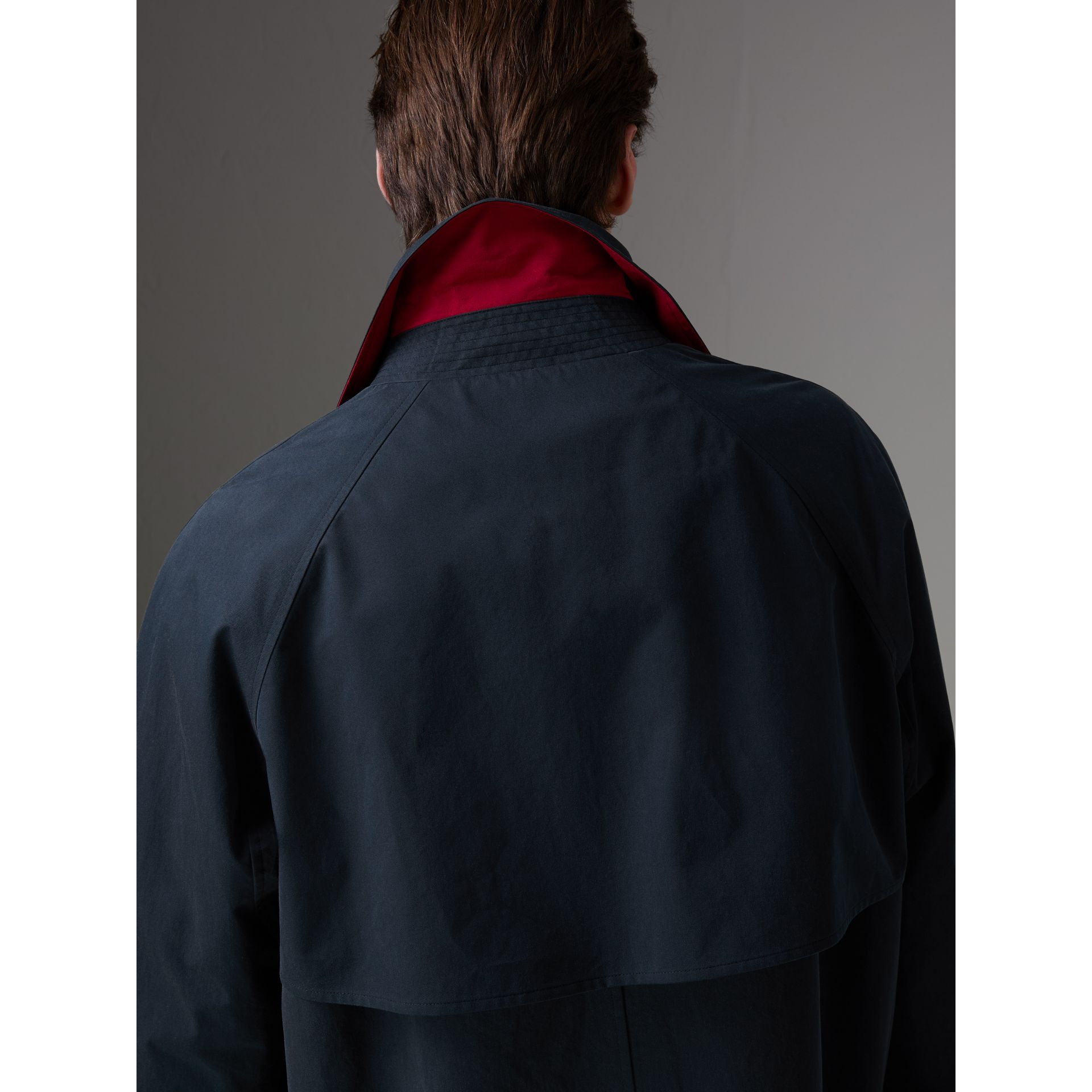 Reissued Waxed Cotton Gabardine Car Coat in Navy - Men | Burberry - gallery image 5