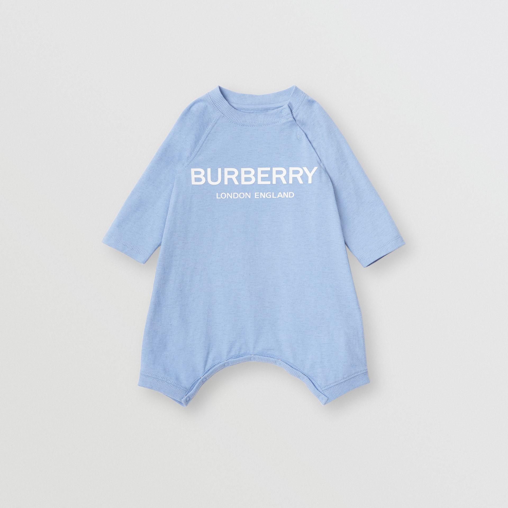 Logo Print Cotton Three-piece Baby Gift Set in Dusty Blue - Children | Burberry - gallery image 2