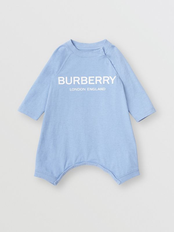 Logo Print Cotton Three-piece Baby Gift Set in Dusty Blue - Children | Burberry United States - cell image 2