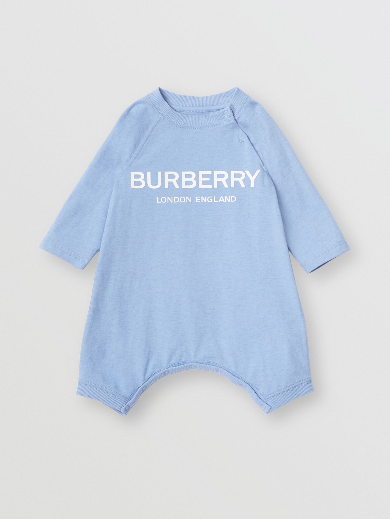 Logo Print Cotton Three-piece Baby Gift Set in Dusty Blue