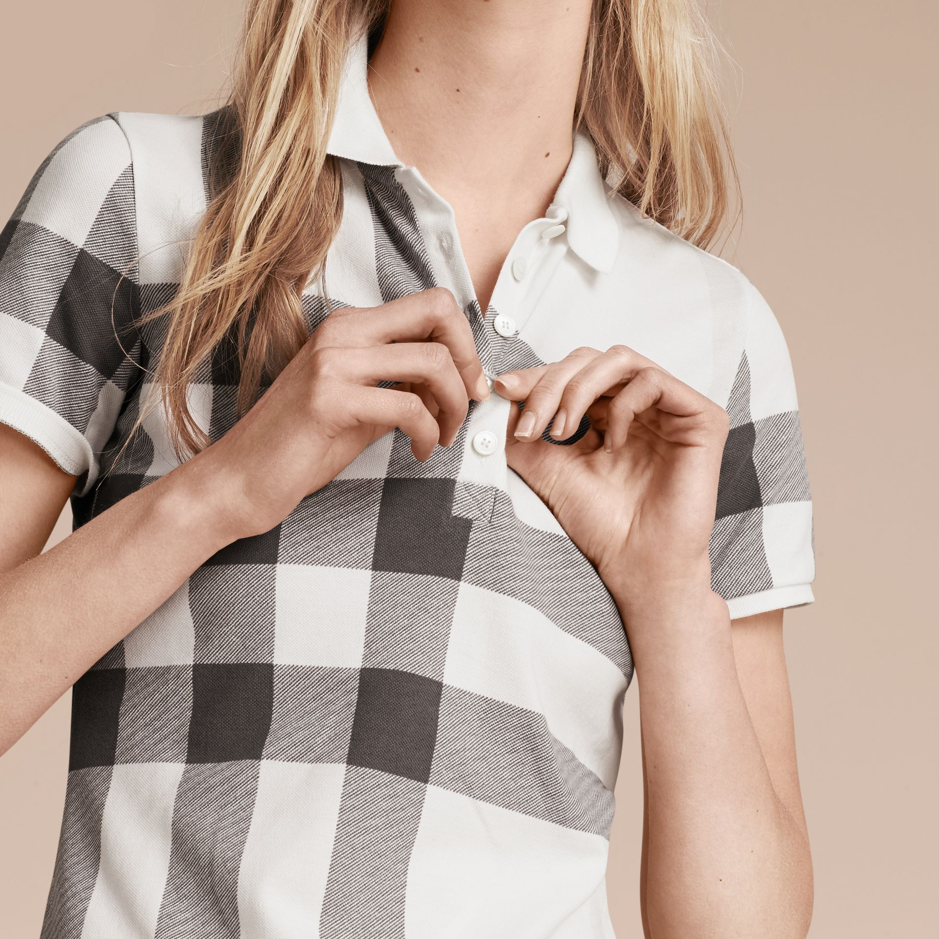 White Check Stretch Cotton Piqué Polo Shirt White - gallery image 6