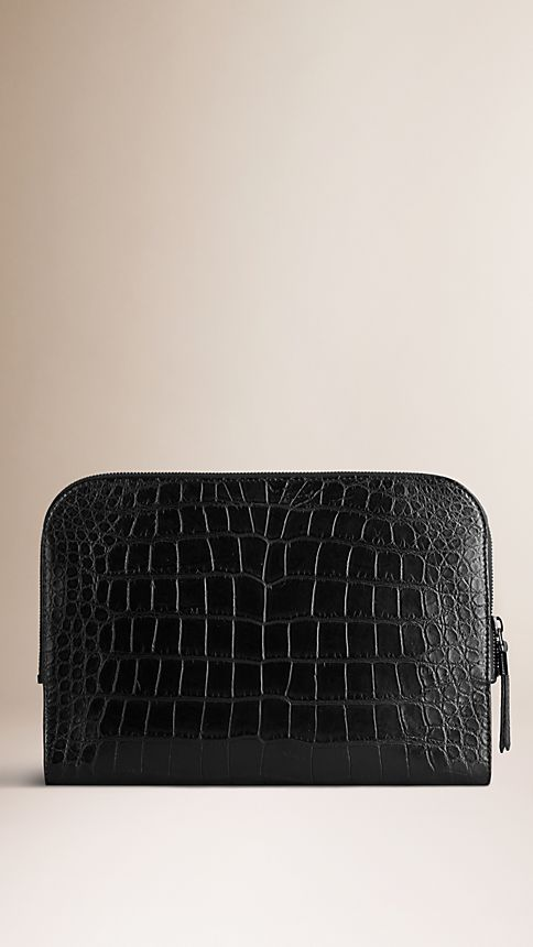Black Alligator Document Case - Image 1