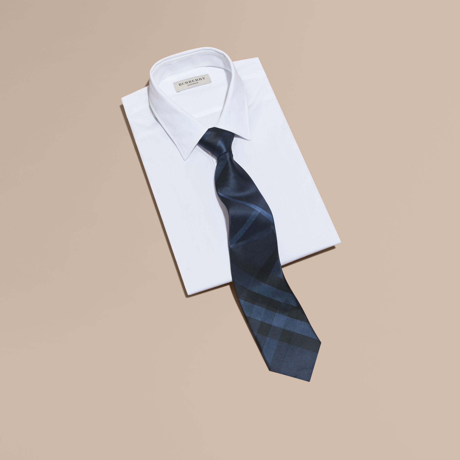 Classic Cut Check Silk Tie in Navy - Men | Burberry - gallery image 3